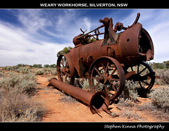Weary Workhorse, Silverton, NSW (Stephen Kinna Photography) Tags: old red sky abandoned wheel metal neglect sand rust iron desert silverton decay farm steel sony wheels pipes pipe neglected engine rusty steam filter cast forgotten rusted nsw newsouthwales outback scrub boiler decayed steamengine decaying brokenhill sonyr1