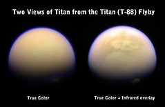 Two Views of Titan (Val Klavans) Tags: november red two orange cloud moon vortex storm color green composite 30 clouds ir solar haze raw image space south violet atmosphere overlay science images system pole nasa val filter views planet infrared mission hood astronomy planetary saturn 29 polar 88 titan filters rgb ssi jpl valerie huygens cassini 2012 flyby methane t88 grn astrobiology cb3 klavans rev175