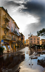 SAINT TROPEZ APRES LA PLUIE (steve lorillere) Tags: lighting street cloud sun house storm reflection sol window rain puddle licht soleil casa fenster chuva pluie wolke haus reflet janela nuage nuvem maison rue sonne reflexion fentre regen orage poa  clairage  sturm sainttropez tempestade   pftze reflexo              iluminaopblica strase flaquedeau