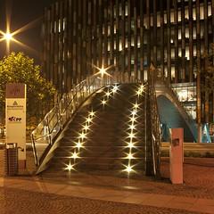Bridge to the office (PetrSk) Tags: street city bridge light urban tree art architecture modern night lights construction industrial czech prague pentax praha staircase