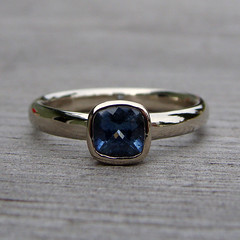 Fair trade sapphire and recycled 14k white gold ring (mcfarlanddesigns) Tags: blue wedding white stone square gold engagement hand recycled handmade cut antique band fair jewelry ring made designs 14k custom trade cushion mcfarland gem jewel solitaire sapphire gemstone ethical