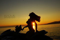 Sunset silhouette (Sugar's Photography) Tags: ocean girls sunset red sun beach beautiful fashion vancouver clouds dress models bikini wreck