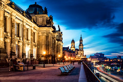 Dresden classics. (fresch-energy) Tags: city architecture night clouds river bench evening abend dresden cloudy sony wolken stadt architektur fluss elbe bnke eveninglight a77 kunstakademie hofkirche abendstimmung abends abendlicht eveningmood elbflorenz brhlscheterrassen