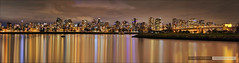Christmas Light Skies [Explored] (Clayton Perry Photoworks) Tags: vancouver night lights christmas winter panorama reflections hdr skyline explore explored