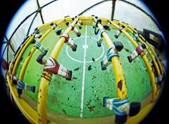 fisheye table football (pho-Tony) Tags: camera colour slr film japan analog 35mm lens japanese 50mm reflex lomography minolta iso400 minoltax700 ishootfilm fisheye negative single 400 analogue 400asa 117 x700 mps c41 f17 rokkor filmisnotdead tetenal autaut