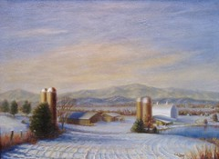 Sleeping Earth (paintercal) Tags: winter snow mountains forest virginia farm silos oilpainting realism afternoonlight peaksofotter