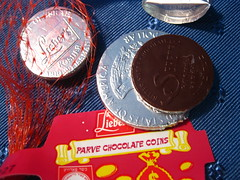 Chocolate Coins // Lieber's (VeganBananas) Tags: wrapping vegan holidays candy chocolate foil gifts tradition hannukah gelt nondairy parve liebers