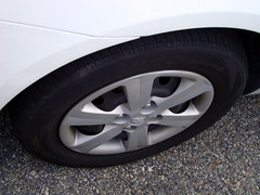 Tire On A Hyundai Accent. (dccradio) Tags: lumberton nc northcarolina robesoncounty sailun sailuntire sailunatrezza sh402 tire wheel wheelwell hyundai accent white