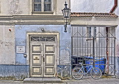blue corner (poludziber1) Tags: city colorful capital cityscape blue building bycicle door old tallin estonia street summer lamp urban