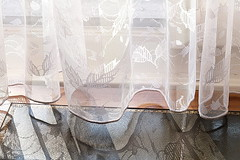 Bedroom Window (2) (zinnia2012) Tags: augustbreak2016 bedroomwindow curtain sheer net sunshine shadows design pattern fentre rideaux soleil ombres