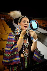 Finishing Touches IICOT Powwow 2016 copy (queenbeaphoto@att.net) Tags: bymelissafrybeasley people dancer woman nativeamerican regalia beadwork iicotpowwowofchampions powwow tradition finishingtouchesbymelissafrybeasley beauty culture