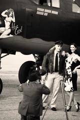 Posing with Hot Gen (Stephen Gardiner) Tags: hamilton ontario 2016 canadianwarplaneheritagemuseum lancster flyingfortress mitchell worldwar2 b17 b25 avro boeing northamericanaviation night plane aircraft propeller noseart pentax k3ii 1645