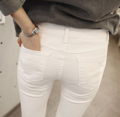 Nine female pants high waist skinny white jeans black stretch ...