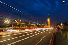 Big Ben at Blue Hr London (Frederick Bancale) Tags: lighttrails brexit parliamentbuilding clock bigben waterloobridge london
