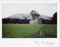 Thursday 15th September (ronet) Tags: barn edale field instantfilm instax instax200wide pasture peakdistrict sheep utata:project=tw543
