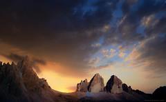 Tra sogno e realt ... (Gio_so_far_away_from_here) Tags: dolomiti dolomiten dolomites sunrise mountainscape landscape mountain threepeaks clouds sky atmosphere nature nuvole italy panorama trecime trentino