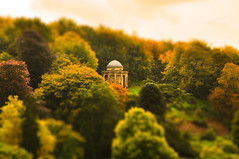 Temple of Apollo (mendhak) Tags: autumn red england orange colors forest geotagged temple golden hidden stourhead apollo tiltshift nothdr mendhakwebsite geo:lat=5110769050 geo:lon=232614359