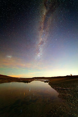 The Milky Way over a Tidal Pool (lrargerich) Tags: sky cloud patagonia water colors pool clouds way stars nightscape large trails beta nebula tarantula alpha milky tidal crux lmc magellan milkyway tracked centauri coalsack