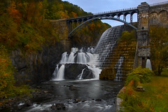 Sometime After Sunrise - in explore (SunnyDazzled) Tags: bridge autumn newyork fall nature colors leaves river table landscape waterfall construction picnic view dam masonry lawn engineering landmark pride gorge croton spillway slowshutterspeed newcrotondam mygearandme