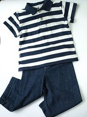Polo and jeans set: blue stripes, 3-4yo (cool.glam.chic.baby) Tags: blue party white set toddler stripes navy jeans gift polo collared darkblue 34yearsold