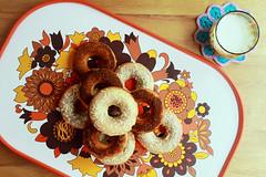 Fall doughnuts! (Nana Odile) Tags: england food white fall st vintage dessert michael yummy chocolate cinnamon housewares goods retro made homemade tray 1970 doughnuts seventies sixties baked 1960