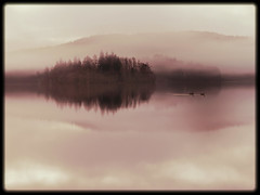 LOCH ARD (almost) (kenny barker) Tags: mist sepia landscape lumix scotland trossachs lochard scottishlandscape landscapeuk panasoniclumixgf1 welcomeuk kennybarker
