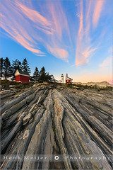 Pemaquid Point Light - Maine (~ Floydian ~ ) Tags: ocean sunset sea usa cloud lighthouse water rock clouds canon bristol landscape evening mood unitedstates maine newengland peaceful tranquility atmosphere atlantic ridge serene colourful tranquil meijer pemaquid henk ridges bedrock warmcolors pemaquidpointlight floydian proframe proframephotography canoneos1dsmarkiii henkmeijer