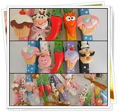 Pregadores (Lili Arte em biscuit) Tags: biscuit cupcake pimenta cozinheiro vaquinha porquinho prendedores cenoura pregadores
