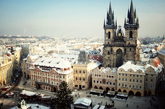 Prague. (ewitsoe) Tags: christmas city morning travel winter holiday cold building tower buildings landscape nikon europe december cityscape view prague towers freezing sunny clear czechrepublic 2035mm d80 astronomicalclocktower ewitsoe