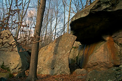 """""""Colonial Cave"""" on Westwoods Trail (Bob Gundersen) Tags: statepark road park usa tree rock stone landscape outside photo interesting flickr image shots outdoor map hiking path connecticut country shoreline tracks picture newengland ct places trail huge prints cave scenes gundersen guilford conn rockformation nikoncamera westwoods leetes cockaponset d5000 westwoodstrails glct cockaponsetstateforest rt146 connecticutscenes nikond5000 guilfordlandconservationtrust cockaponsetstatepark bobgundersen robertgundersen"""