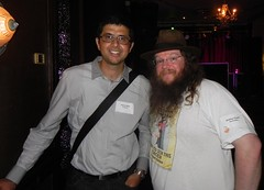 Neerav Bhatt (left) and Matthew Powell (right) - 2012 Australian Technology Media Christmas party (neeravbhatt) Tags: christmas party media technology matthew australian powell 2012 bhatt neerav