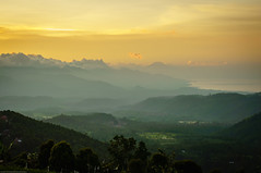 Sunset from Munduk (Fredde Nilsson) Tags: trees sunset bali orange mountains green clouds indonesia layers munduk