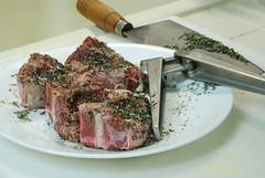 Loin Lamb Chops from Shadybrook Farm (gadgetgeek) Tags: lamb cleaver garlicpress shadybrookfarm grassfedlamb