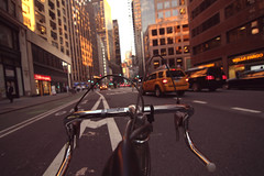nyc by bike (skoupidiaris) Tags: street nyc sunset newyork bike warm colours afternoon broadway racing september biking magichour