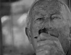 Old Eyes (satlly) Tags: old blackandwhite bw man blackwhite smoke pipe grandpa portret granfather
