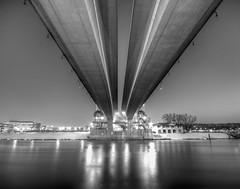 Wabasha Bridge (RyanChernikPhotography) Tags: street winter sky blackandwhite detail water minnesota river stpaul symmetry mississippiriver underneath twincities saintpaul hdr wabasha wabashabridge