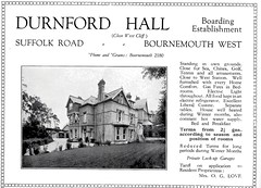 DURNFORD HALL HOTEL. 43 SUFFOLK RD. BOURNEMOUTH. DORSET. 1931 (BOURNEMOUTH GRANT TOO) Tags: road uk england house tourism 1931 hotel hall suffolk dorset guide bournemouth boarding rd durnford suffolkroad durnfordhallhotel suffolkrd durnfordhallboardinghouse