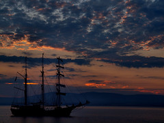 An overnight visitor (ccgd) Tags: boat ship oil rig jack up cromarty scotland sunset gloaming