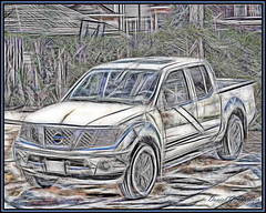 Nissanart (danielgweidner) Tags: eos5d fractalius nissan nissantruck photoart art abstract truck vehicle painting omaha nik nikcolorefx photoshopcs6 lightroom5 redfieldplugin