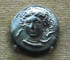 Coin of Syracuse (end 5th century BC) - Head of the Nymph Arethusa between the dolphins - Naples, Archaeological Museum (Carlo Raso) Tags: syracuse coin nimpharethusa naples archaeologicalmuseum italy sicily
