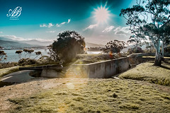 Kangaroo Bluff (Andrew.Bones) Tags: kangaroo bluff hobart tasmania australia aperture tree green blue sandstone walls derwent river cannons defence tunnels canon 7dmii tamron 17mm 50mm f14 1200 polarised filter