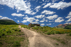 mt-crested-butte-2016-hdr1 (Wildsight Photography) Tags: crestedbutte colorado abandoned shack clouds sky path hill mountains