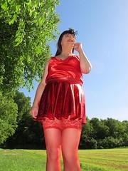 Stocking tops (Paula Satijn) Tags: sexy hot girl gurl tgirl tranny transvestite red skirt dress silk silky satin shiny summer outside sunshine happy smile stockings stockingtops legs miniskirt
