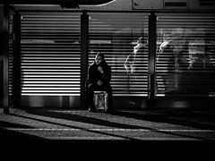 waiting for the train (Sandy...J) Tags: olympus monochrom fotografie mono noir sonnenlicht light licht lines linien man mann menschen atmosphere atmosphre blackwhite bw black bavarian bayern city deutschland darkness dark people germany gegenlicht photography shadow white street streetphotography sw schwarzweis strasenfotografie stadt silhouette sunlight strase urban backlight bahnstation bahnhof station stimmung