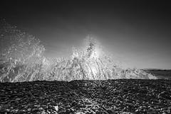 Splash (tzevang.com) Tags: sea splash bw bythesea bwseascape beach canon5d seascape seawater sun waves