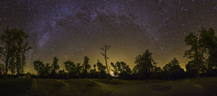 Panoramic in Fontainebleau (Jrmy Huynh) Tags: panoramic night landscape nightscape milkyway stars sky trees tower house monument lightpollution canon samyang microsoftice lightroom photoshop neewer tripod panoramimchead mefoto