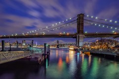 Evening with clouds (karinavera) Tags: travel nikond5300 night brooklyn pier clouds water cityscape manhattan longexposure bridge city newyork