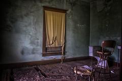 Tattered Treatments (slammerking) Tags: abandoned house blinds floor rotten decay forgotten danger toilet chair peelingpaint