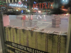 Narcos Bus Shelter Pile O Money AD 5230 (Brechtbug) Tags: narcos tv show bus stop shelter ad with piles slightly singed real fake money or is it 2016 nyc 09102016 midtown manhattan new york city 49th street 7th ave st avenue moola bogus