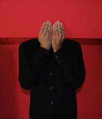 Embarassment (marcus.greco) Tags: portrait selfportrait red conceptual hands surreal abstract strange man